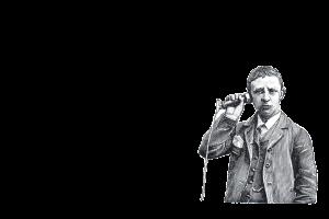 man met historische telefoon