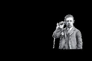 Man met retro telefoon
